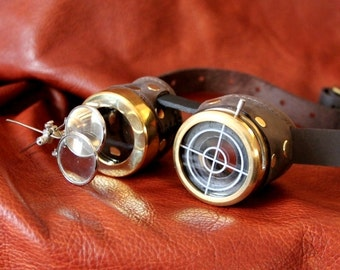 Steampunk Goggle brass and brown with IRIS eye piece and magnifiers