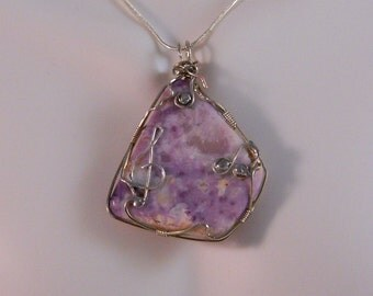 Lavender Tiffany Stone Wire Wrapped in Sterling Silver with Musical Embellishments, Let's Make Music, PN5
