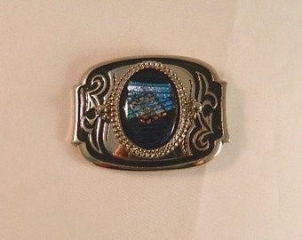 Ribbons of Light Dichroic Fused Glass Belt Buckle, SB19118 Style