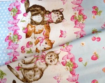 Cotton fabric, Japanese fabric, Lolita, Kitten, Cherries, Strawberries, Pastel blue fabric, DIY crafts fabric, 1 yard FB124