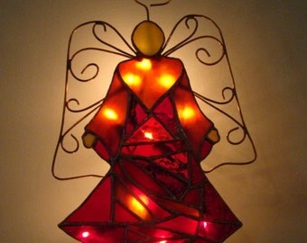 Red Mosaic Angel of Lights - Christmas tree topper