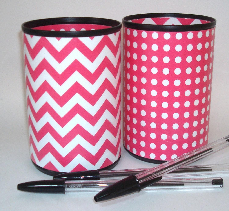 Desk Accessories Pencil Holder Dark Pink and White Chevron