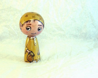 Sandman Fairy Tale Wooden Handpainted Kokeshi Doll