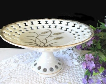 Pedestal Candy Dish * LEFTON BonBon Dish  * GOLDEN WHEAT Pattern