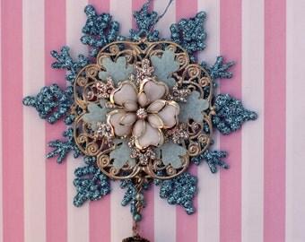 Shabby Snowflake Christmas Ornament