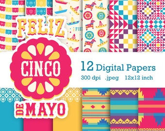 Mexico's Cinco de Mayo digital scrapbooking party kit. Instantly download 12 fun digital scrapbook papers. plus 10 images by Happythought.