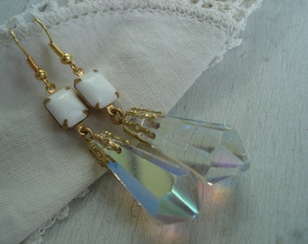 Art Deco Vintage Faceted Swarovski Czech Cut Crystal and White Milk Glass Gold Earrings
