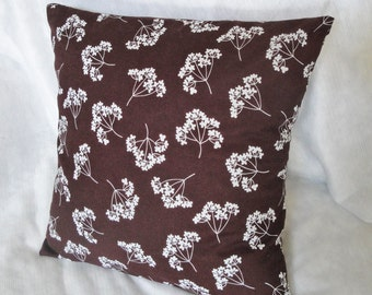 """Brown pillow cover, chocolate brown & white flower pillow slip, fall cushion available in 12x16"""", 14"""", 16 inches, 18"""""""