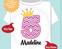 Fifth Birthday Shirt, Pink Chevron 5 Birthday Shirt, Any Age Personalized Girls Birthday Shirt Pink Age and Name Tee for kids 06102014a