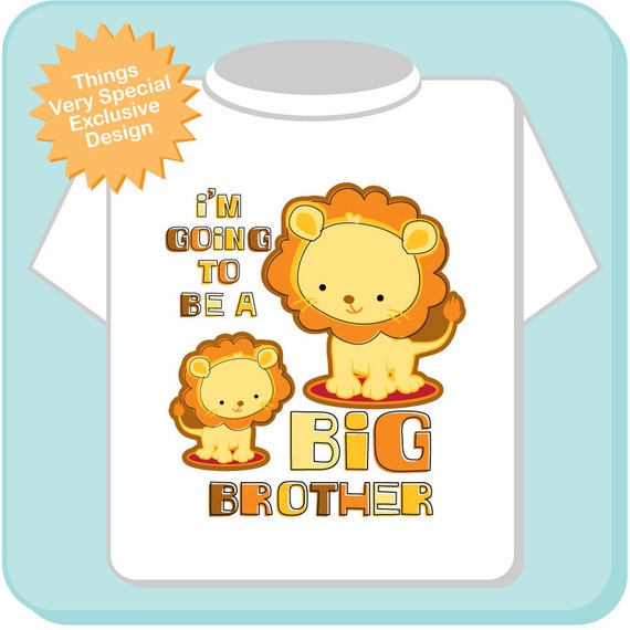 Boy's I'm Going To Be A Big Brother Lion Tee Shirt or Onesie, Pregnancy Announcement (08272011a)
