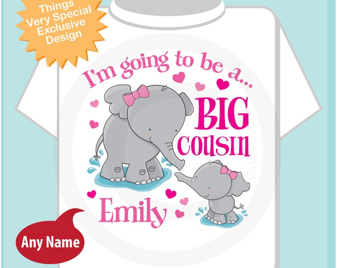 Elephant Big Cousin Shirt Big Cousin Elephant Tee Shirt or Onesie with baby girl cousin Pregnancy Announcement (04242014f)