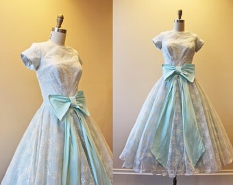 1950s Dress - Vintage 50s Dress - Cinderella Blue White Flocked Organdy Princess Party Dress S - Entranced
