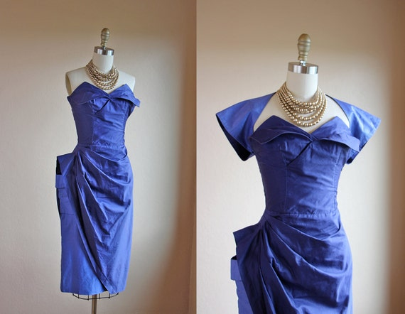 1950s Dress - Vintage 50s Dress - Strapless Sarong Bombshell Designer Cocktail Party w Bolero S - No Mercy