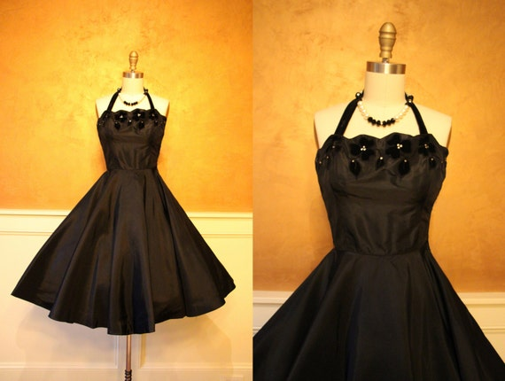 1950s Dress - Vintage 50s Dress - Black Halter Jeweled Velvet Flower Silk Circle Skirt Party Dress XS - Night Muse