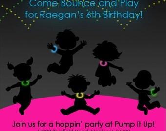 Bounce House / Pump It Up Glow Birthday Invitation