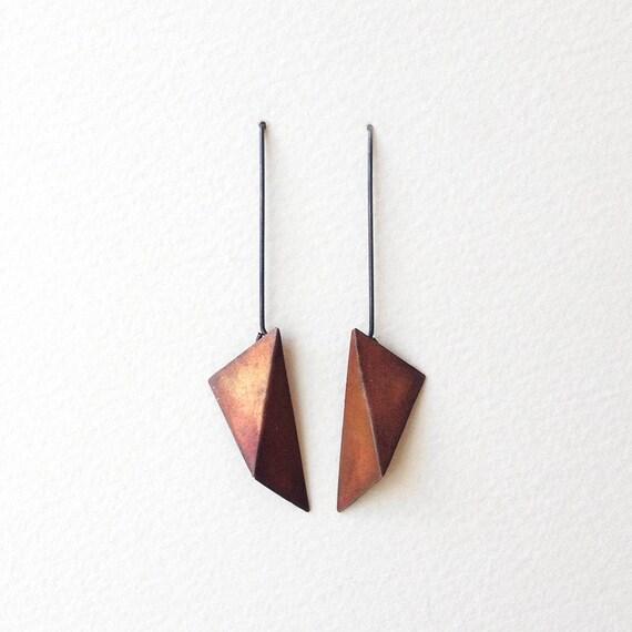 geometric copper earrings geometric silver earrings triangle dangle earrings statement. Black Bedroom Furniture Sets. Home Design Ideas