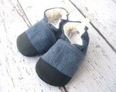 Upcycled Denim and Hemp PRESCHOOL sizes Soft Sole Shoes Made to Order Non Slip Slippers Toddler