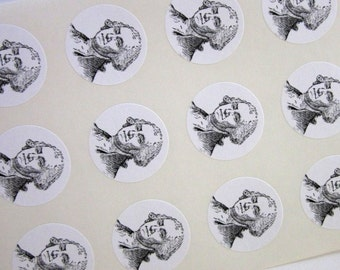President George Washington Stickers One Inch Round Seals