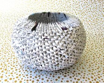 eco-friendly paper origami bowl~ small white