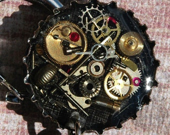 Starr Hill Brewery Steampunk Beer and Gear Watch parts Bottle Cap Keychain