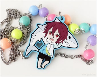 Rin Matsuoka  Necklace, Neon Rainbow Beads, Stainless Steel Chain, Very Long - Free!, Anime Jewelry