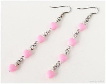 Pink Heart Earrings, Beaded, Long, Surgical Steel - Fairy Kei, Sweet Lolita