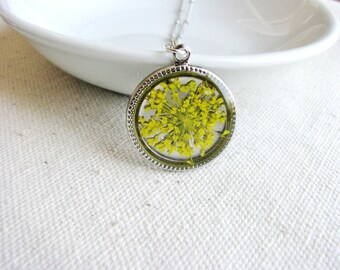 Queen Anne's Lace Necklace Silver Yellow Botanical Bridal Jewelry Real Flower Naturalist Pressed Plant Flower Nature Inspired Resin Jewelry