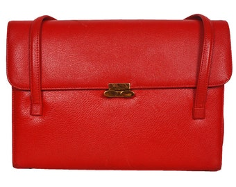 Vintage 1950s Red Leather Handbag Purse