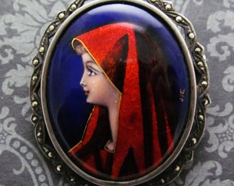 Virgin Mary Limoges Brooch Antique French Sterling Enamel and Marcasite