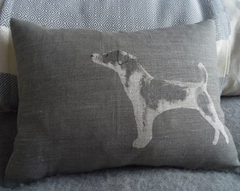 hand printed greys jack russell cushion