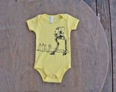 Star Wars AT-ST Walker / Hipster baby shower gift / American Apparel Lemon Yellow Unisex Baby Onesie