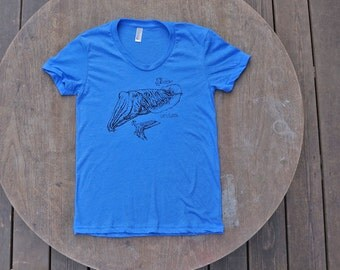 Let's Cuttle Cuttlefish T-Shirt Women's American Apparel Heather Lake Blue