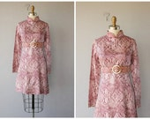 1960s cocktail dress / 60s dress / long sleeved printed dress / 60s party dress 1960s - size small