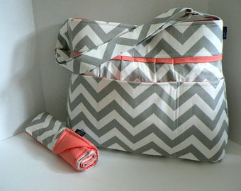 Monterey Diaper Bag Set - Grey Chevron and Salmon / Coral Pink  Or Custom Design Your Own - Large 9 Pockets