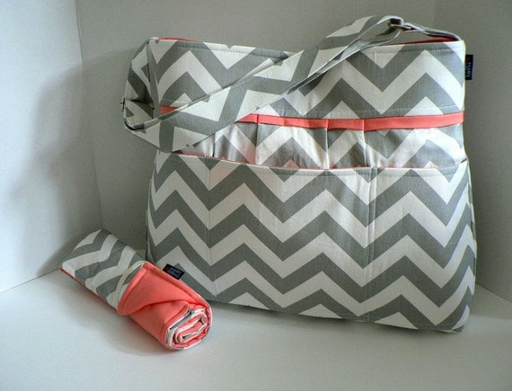 items similar to monterey diaper bag set grey chevron and salmon coral pink or custom design. Black Bedroom Furniture Sets. Home Design Ideas