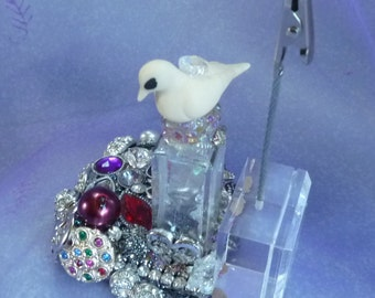 When Doves Cry, Altered Bottle, Paperweight, Glass Decor by mystic2awesome