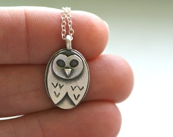 Owl Necklace in fine silver and sterling
