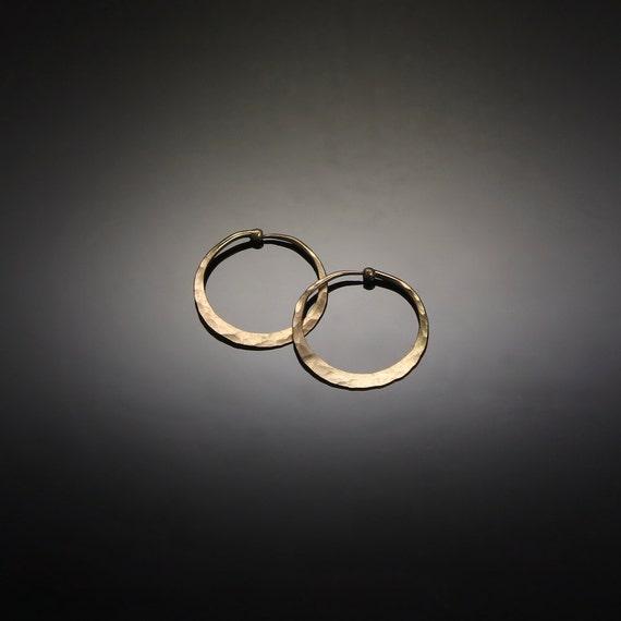 Tiny 14k Gold Hoops  // Delicate Flat Gold Hoop Earrings 3/4 inch