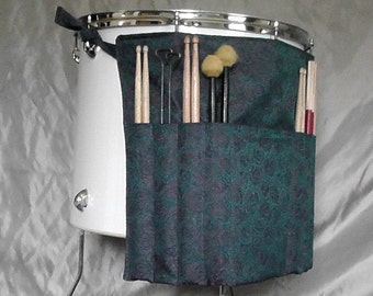 Roll It Ups Drumstick Bag - Drum Bag Drumstick Stick Bag for Girl Drummers on Drum Set and Percussion in Blue and Purple Roses