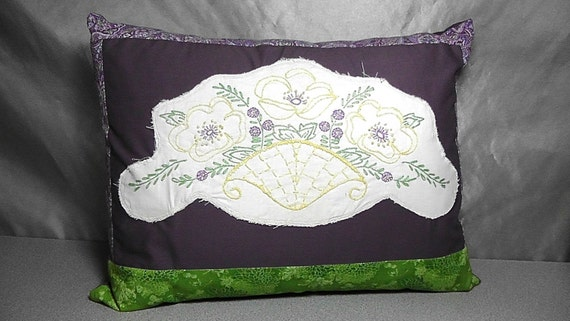Vintage Needlework Embroidery Upcycled into Purple Floral Throw Pillow