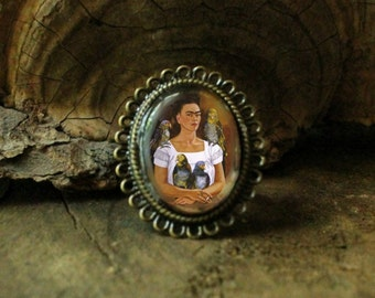 Frida Kahlo Statement Ring / Me and My Parrots / Woodland Jewelry / Antique Bronze / Viva la Frida
