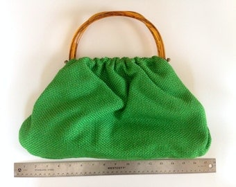 Lovely Spring Green Vintage Purse with Lucite Handles