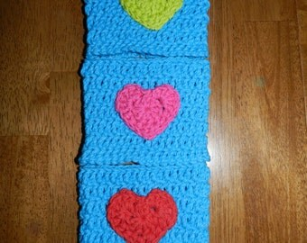Crocheted Heart  Cup Cozy/ Crochet Cozy with Heart/ Crocheted Tumbler Cozy/ Bright Blue Cozy
