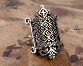 OGOUN RING - Sterling Silver 925 Voodoo Veve Lwa Vodou - Made To Order in Your Size