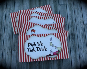 DR. SEUSS/Cat in the Hat themed Food Tents...Menu Cards....Place Cards...Food Signs - set of 6