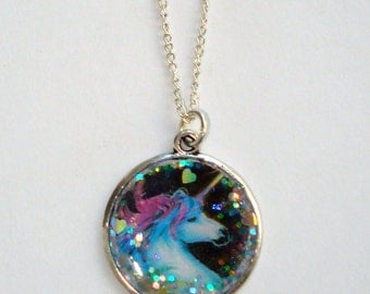 Rainbow unicorn glitzy disc necklace