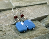 Sale, Blue quartz, ruby red stone, ethnic earrings, silver plated