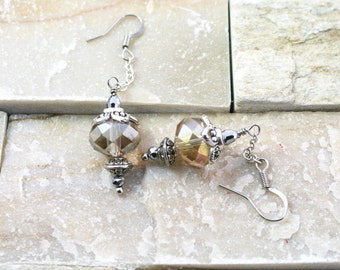 Crystal earrings, light topaz crystal, chain jewelry, silver plated earrings