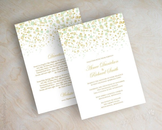 Mint Green And Gold Wedding Invitations: Items Similar To Mint Green And Gold Polka Dot Wedding
