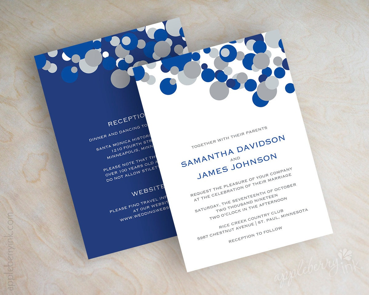 blue and silver polka dot wedding invitations sapphire blue, Wedding invitations